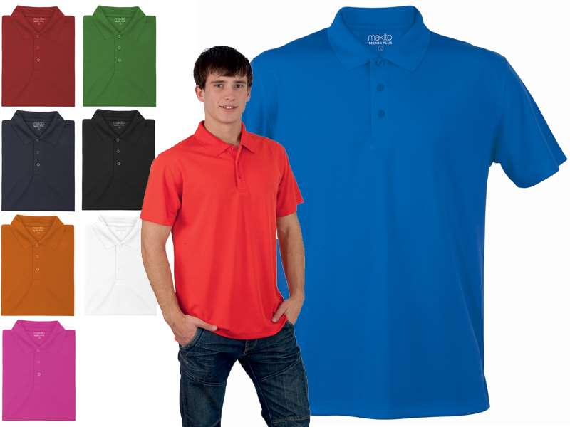 Polo 100 % polyester 180 gr/m2, ademend