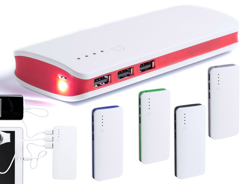 Usb powerbank 10.000 mah, 1 led zaklamp